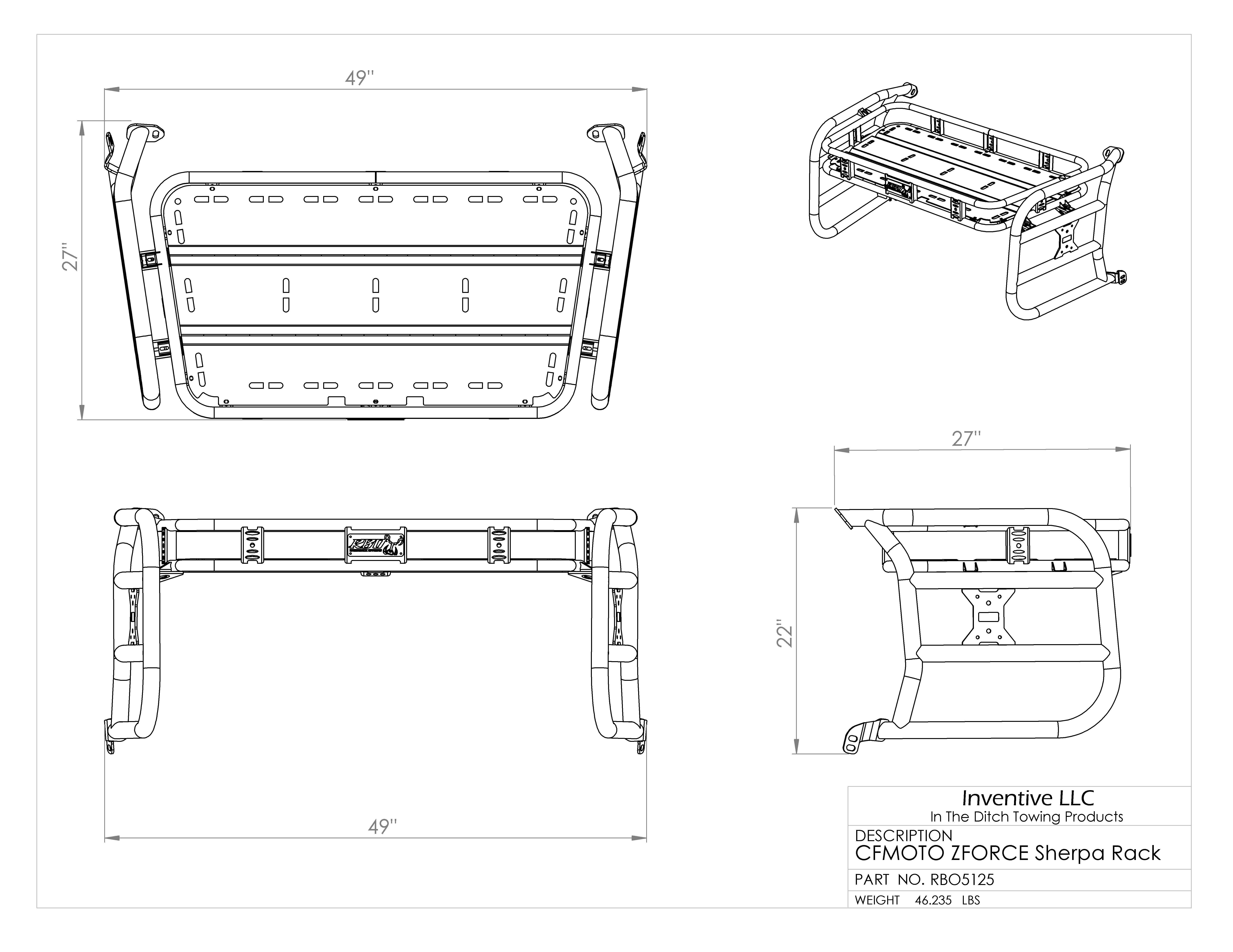 Cfmoto Zforce Sherpa Rack Razorback Offroad Cf Moto Utv 500 Wiring Diagram Dimensions Operations Manual
