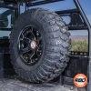 Closeup of Polaris ranger spare tire mounted in utv