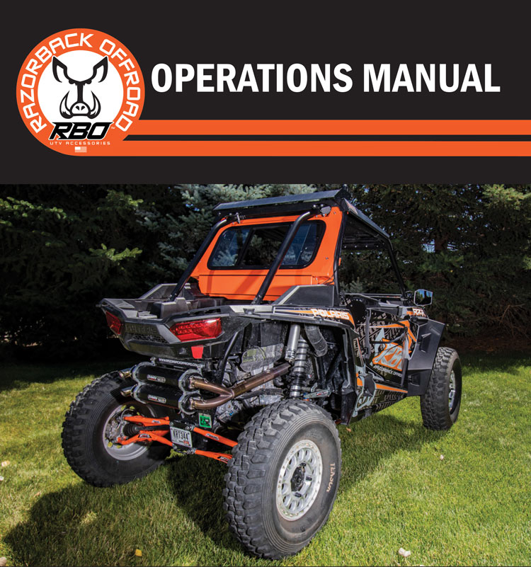 Product operations manual for the Polaris RZR 1000 Rear Sliding Window