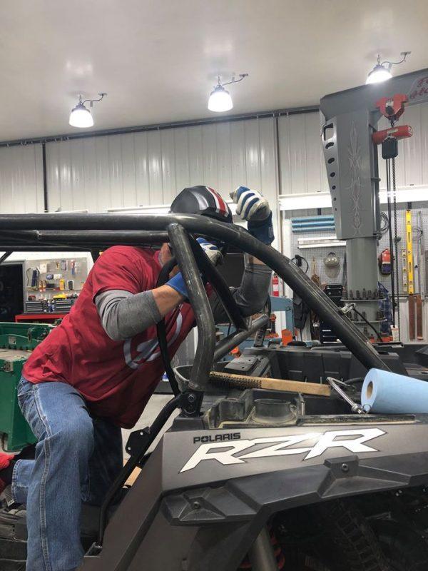 Welding structure for roll cage on Polaris RZR Turbo S Custom UTV SEMA Build