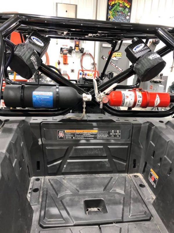 Fire Extinguishers Mounted in Bed for Polaris RZR Turbo S Custom UTV SEMA Build