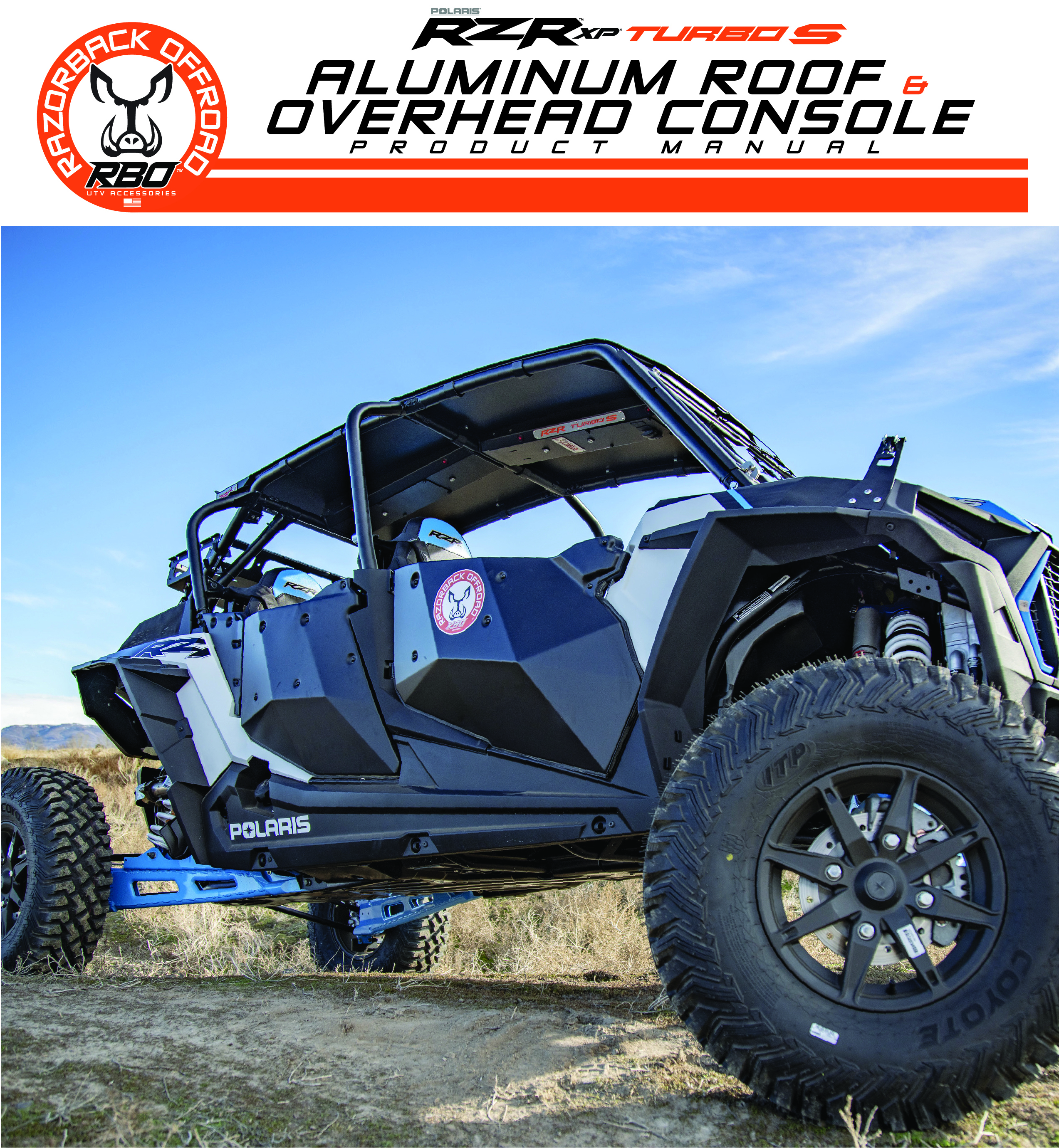 Aluminum Roof and Overhead Console Accessories Polaris RZR Turbo S Custom UTV