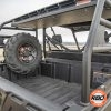 A closeup of a bobcat spare tire mount in bed of utv