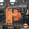 A close up of a UTV rack with Spare tire mount