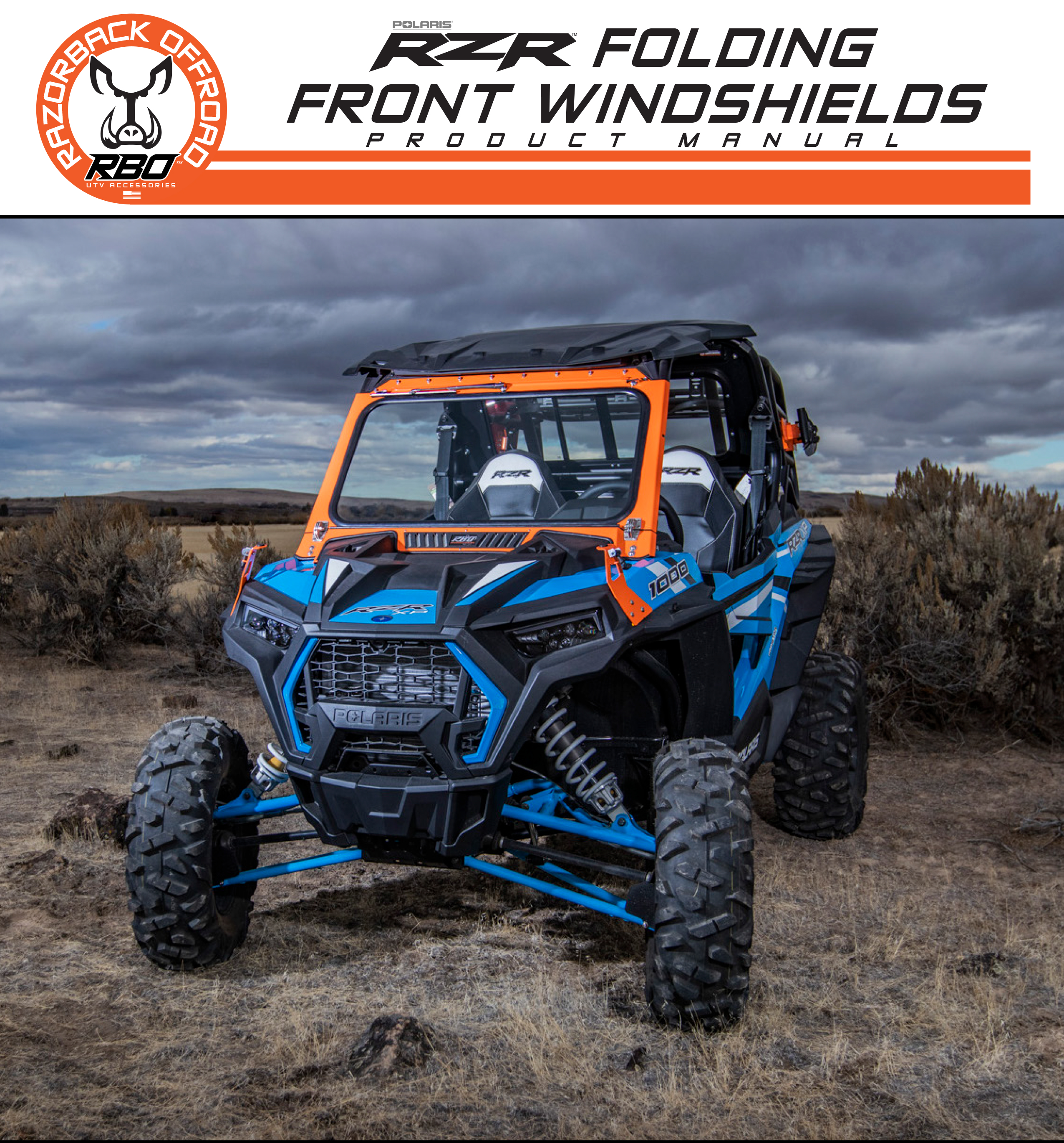 RBO RZR Front Folding Windhields