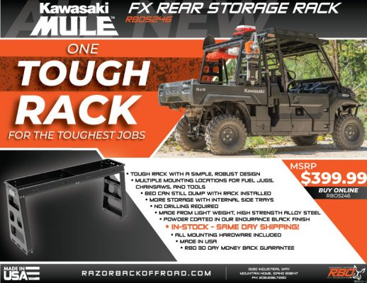 RBO-Kawasaki Mule FX Rear Storage Rack Features and Benefits Flyer