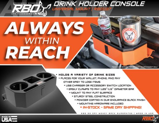 RBO Drink Holder Console Universal Mount Features and Benefits Flyer
