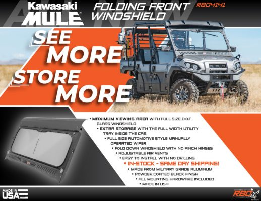 RBO Kawasaki Mule Folding Front Glass Windshield Features and Benefits Flyer