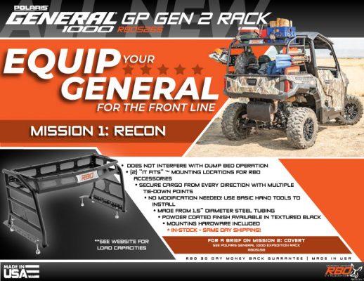 RBO Polaris General 1000 GP Gen 2 Rack Features and Benefits Flyer