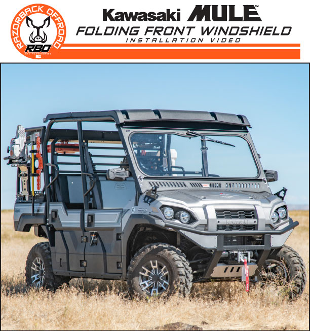 RBO Kawasaki Mule Folding Front Windshield Installation Video Product Manual