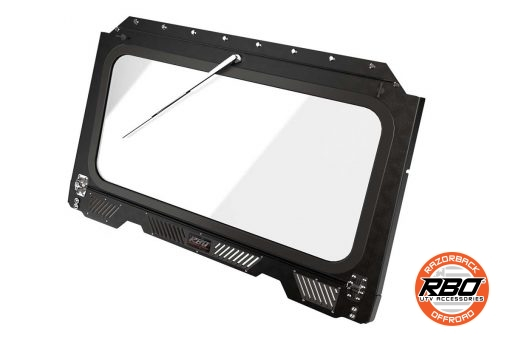 Closeup of Polaris RZR Front Folding Windshield With Wiper And Vents