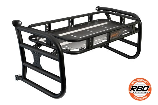 A close up of a CFMoto ZForce Sherpa cargo rack