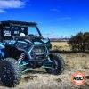 ATV parked by a bush