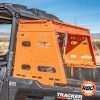 Orange cargo rack closeup