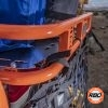 Orange cargo rack closeup with netting