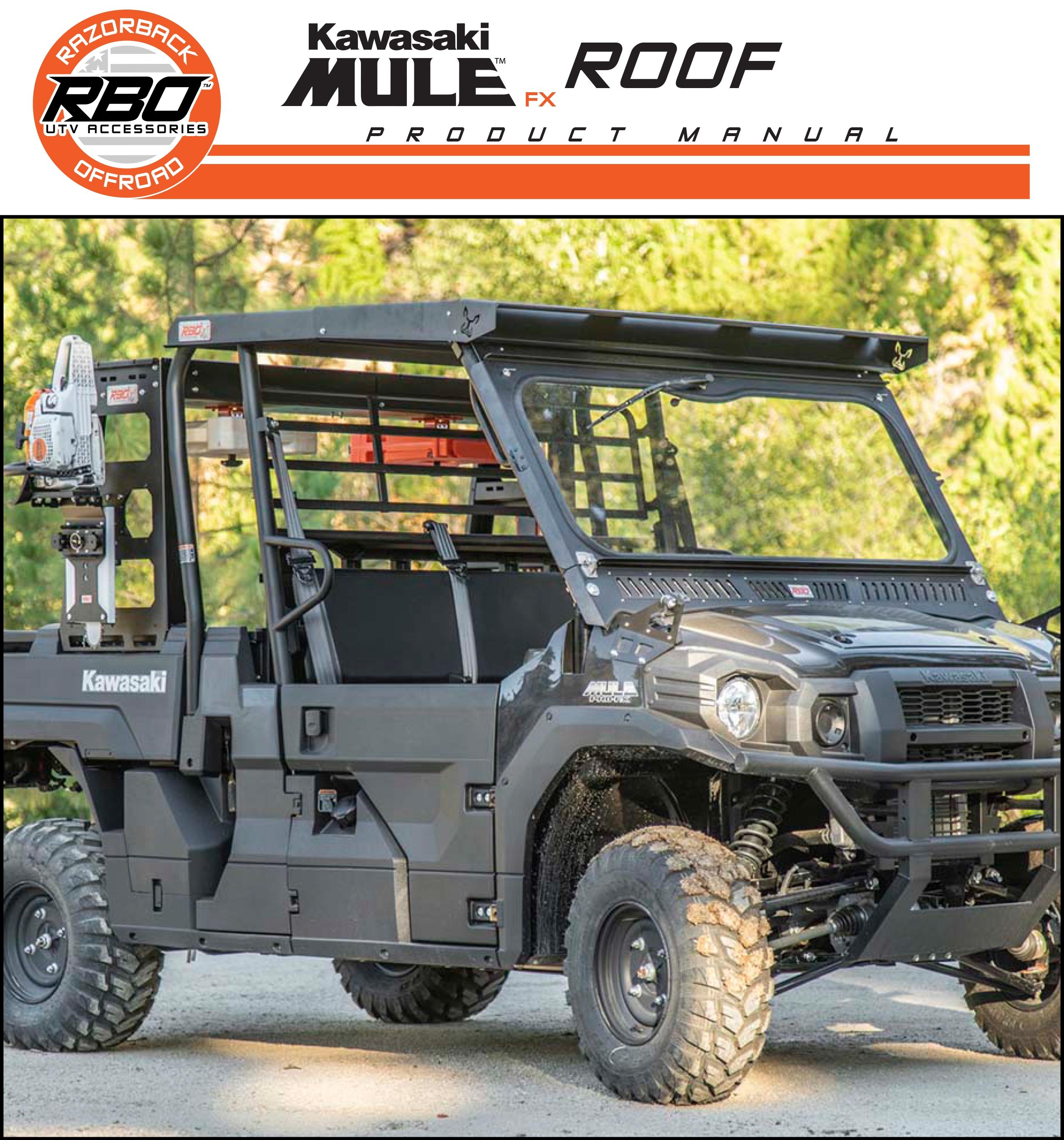RBO Kawasaki Mule FX Roof Product Manual