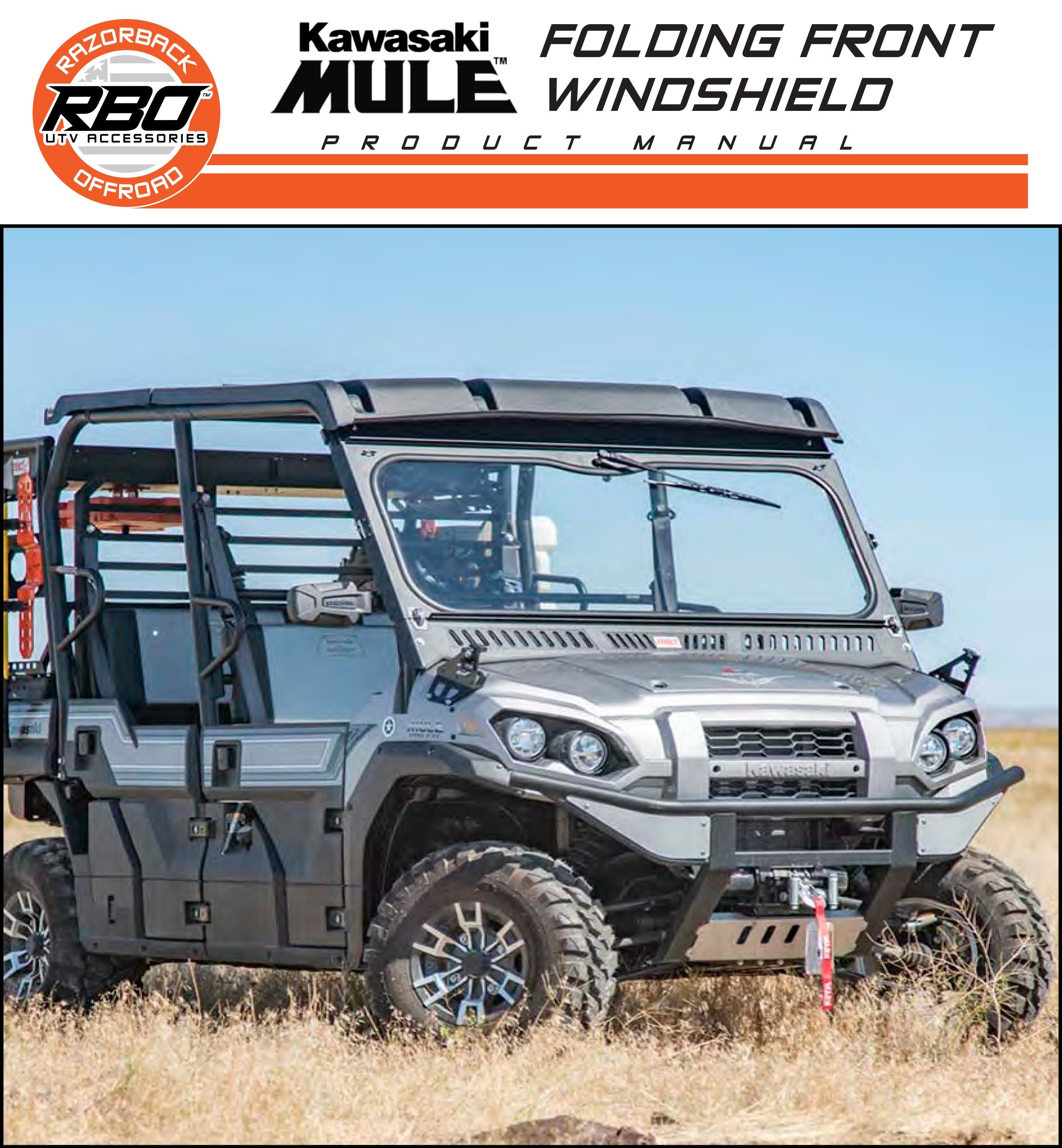 RBO Kawasaki Mule Folding Front Windshield Product Manual