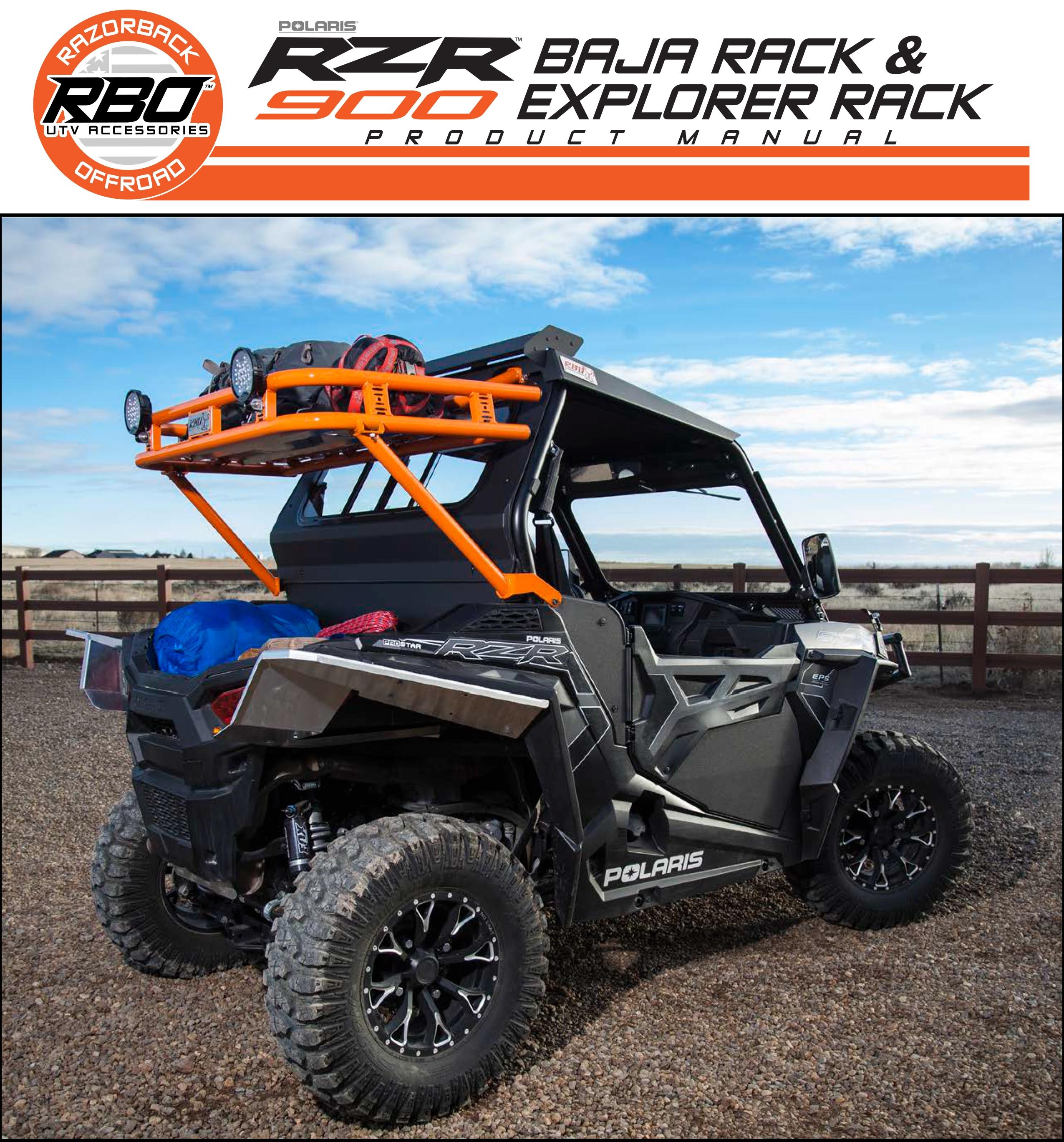 RBO Polaris RZR 900 Baja and Explorer Racks Product Manual