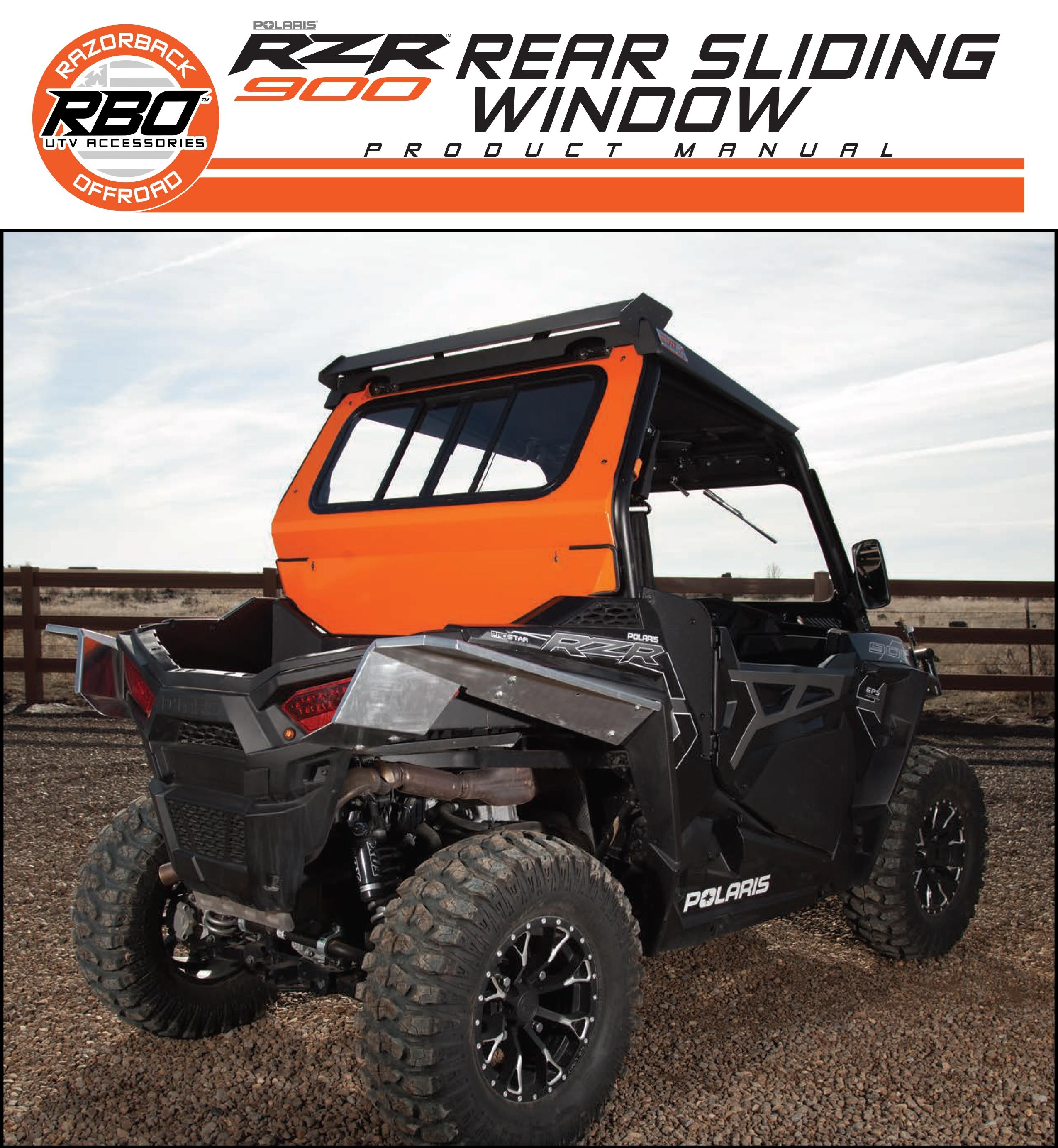 RBO Poalris RZR 900 Rear Sliding Window Product Manual