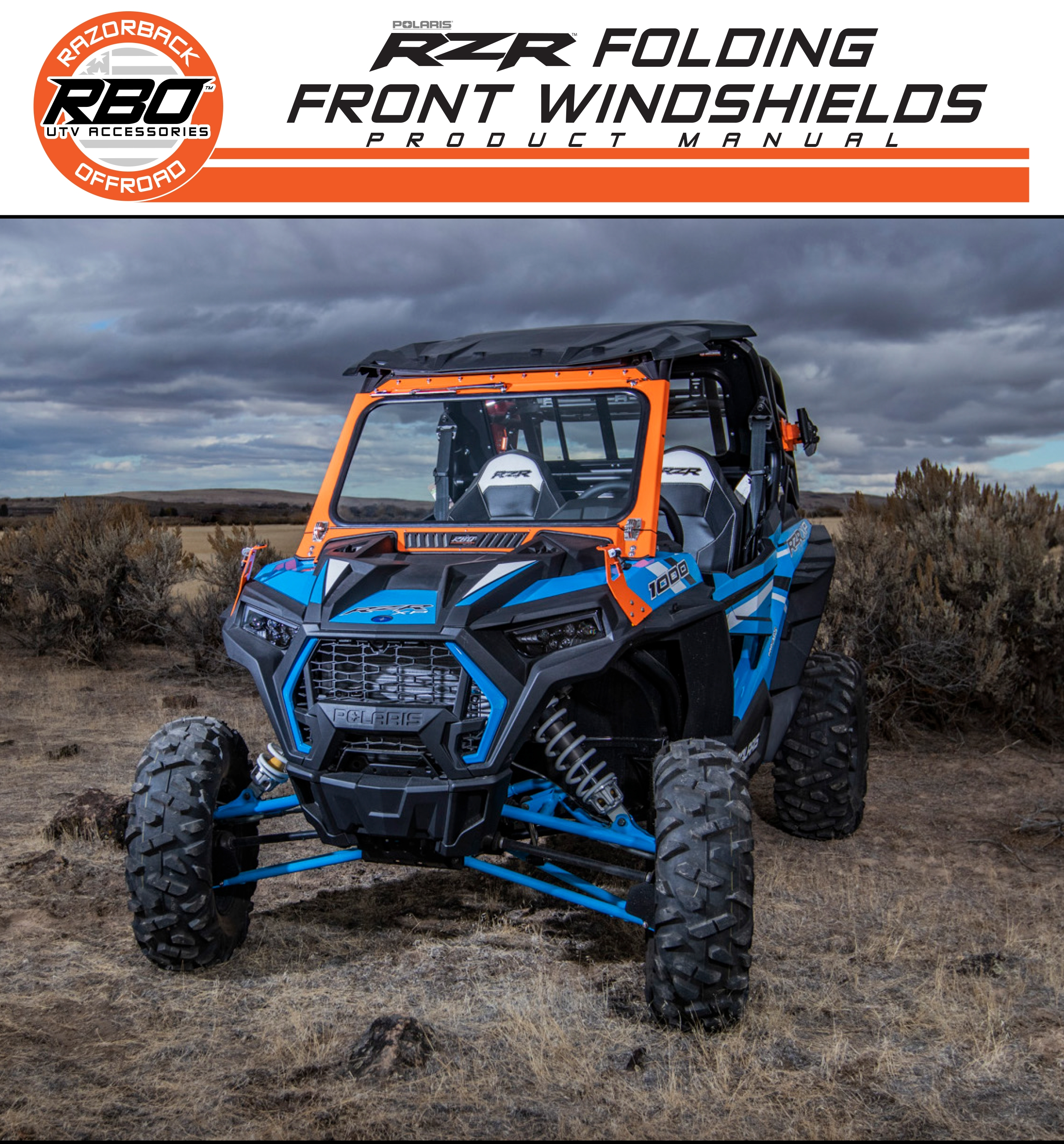 RBO Poalris RZR Front Folding Windshields Product Manual